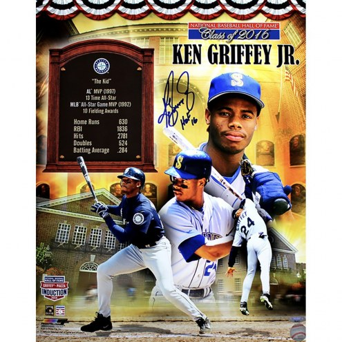 Seattle Mariners Ken Griffey Jr Signed HOF Collage 16 x 20 Photo w/ HOF 16