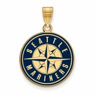 Seattle Mariners Sterling Silver Gold Plated Large Pendant