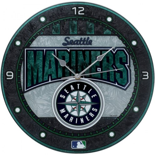 Seattle Mariners MLB Stained Glass Wall Clock