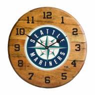 Seattle Mariners Oak Barrel Clock