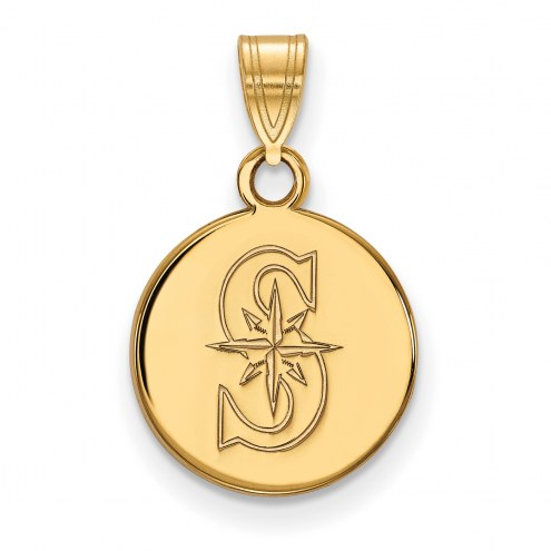 Seattle Mariners Sterling Silver Gold Plated Small Disc Pendant