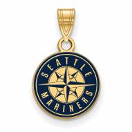 Seattle Mariners Sterling Silver Gold Plated Small Enameled Pendant