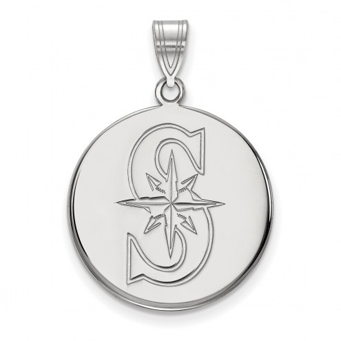 Seattle Mariners Sterling Silver Large Disc Pendant