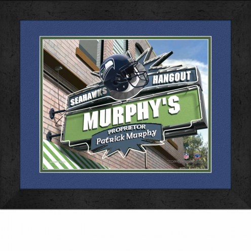 Seattle Seahawks 13 x 16 Personalized Framed Sports Pub Print
