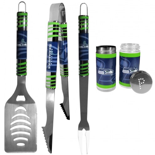Seattle Seahawks 3 Piece Tailgater BBQ Set and Salt and Pepper Shaker Set