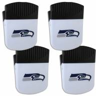 Seattle Seahawks 4 Pack Chip Clip Magnet with Bottle Opener