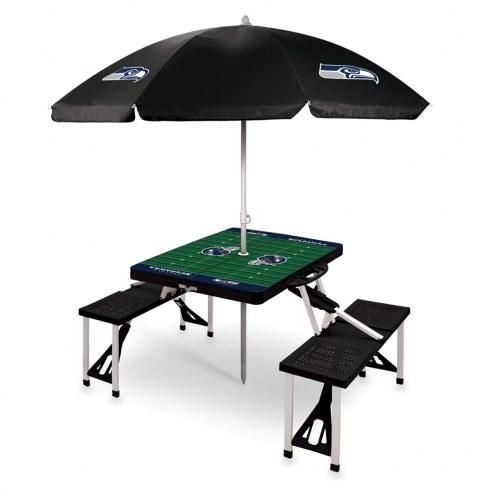 Seattle Seahawks Black Picnic Table w/Umbrella