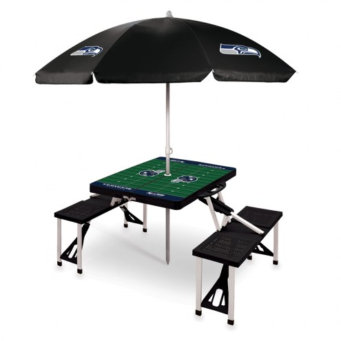 Seattle Seahawks Black Picnic Table w/Umbrella