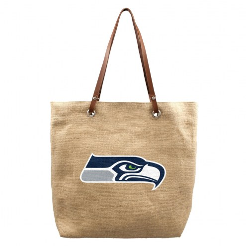 Seattle Seahawks Burlap Market Tote