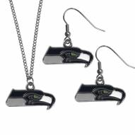 Seattle Seahawks Dangle Earrings & Chain Necklace Set