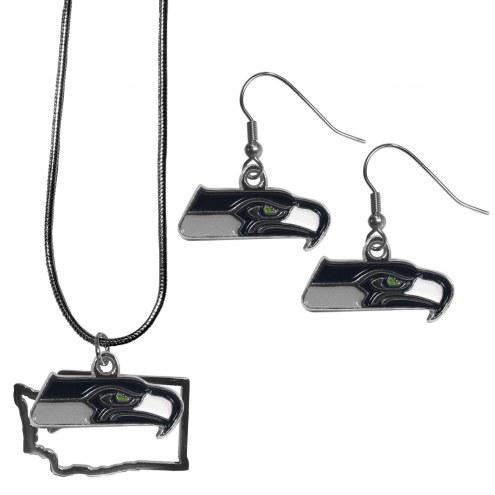 Seattle Seahawks Dangle Earrings & State Necklace Set