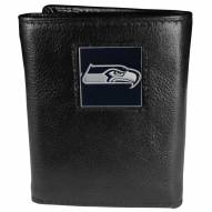 Seattle Seahawks Deluxe Leather Tri-fold Wallet in Gift Box