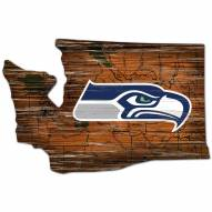 Seattle Seahawks Distressed State with Logo Sign