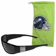 Seattle Seahawks Etched Chrome Wrap Sunglasses & Bag