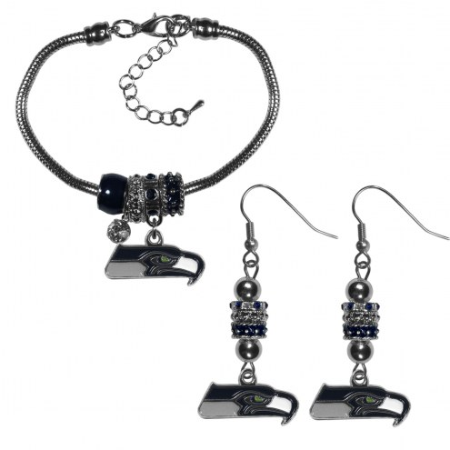 Seattle Seahawks Euro Bead Earrings & Bracelet Set