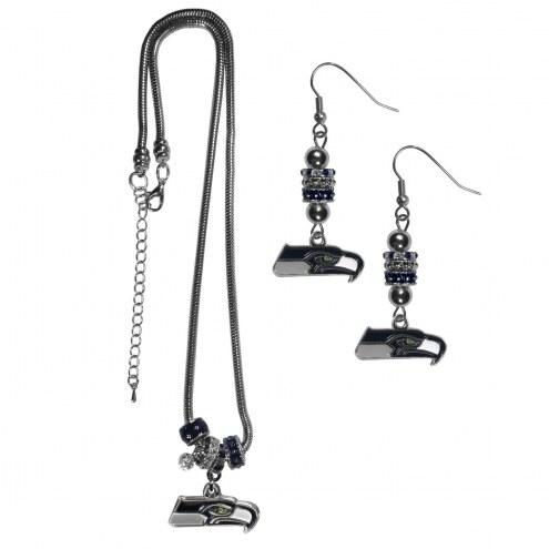 Seattle Seahawks Euro Bead Earrings & Necklace Set