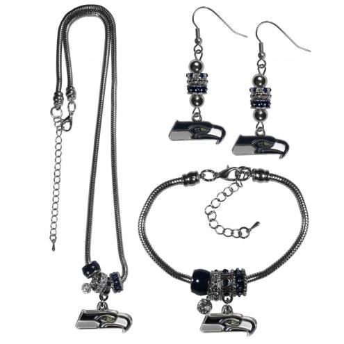 Seattle Seahawks Euro Bead Jewelry 3 Piece Set