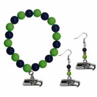 Seattle Seahawks Fan Bead Earrings & Bracelet Set