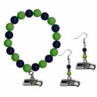 Seattle Seahawks Fan Bead Earrings & Bracelet Set