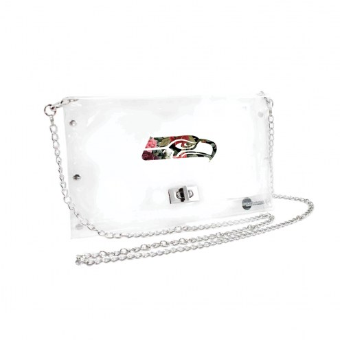 Seattle Seahawks Floral Clear Envelope Purse