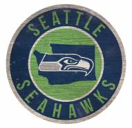 Seattle Seahawks Round State Wood Sign