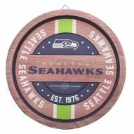 Seattle Seahawks Wood Barrel Sign