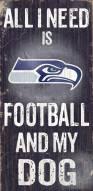Seattle Seahawks Football & Dog Wood Sign