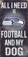 Seattle Seahawks Football & Dog Wood Sign