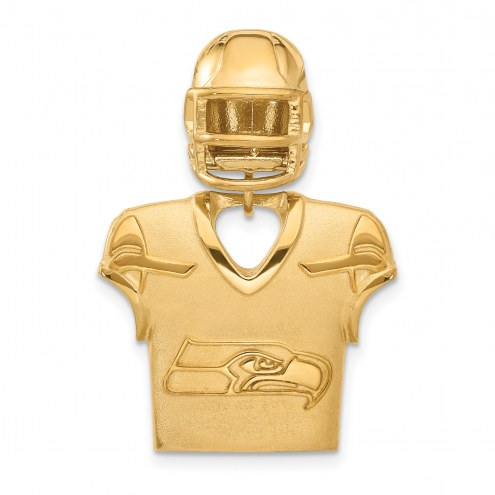 Seattle Seahawks Gold Plated Jersey & Helmet Pendant