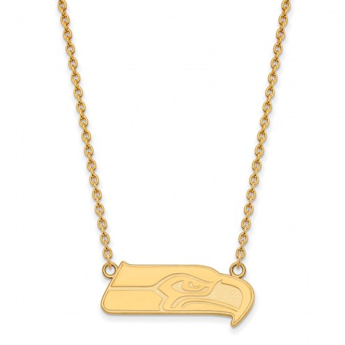 Seattle Seahawks Sterling Silver Gold Plated Large Pendant with Necklace