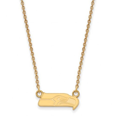 Seattle Seahawks Sterling Silver Gold Plated Small Pendant with Necklace