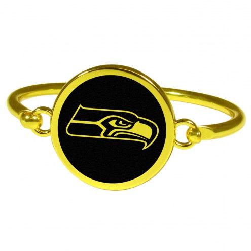 Seattle Seahawks Gold Tone Bangle Bracelet