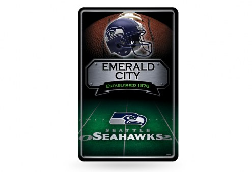 Seattle Seahawks Large Embossed Metal Wall Sign
