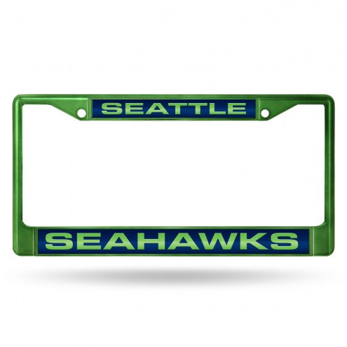 Seattle Seahawks Laser Colored Chrome License Plate Frame