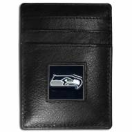 Seattle Seahawks Leather Money Clip/Cardholder in Gift Box