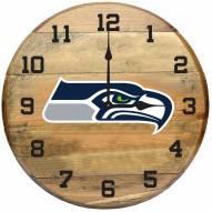 Seattle Seahawks Oak Barrel Clock