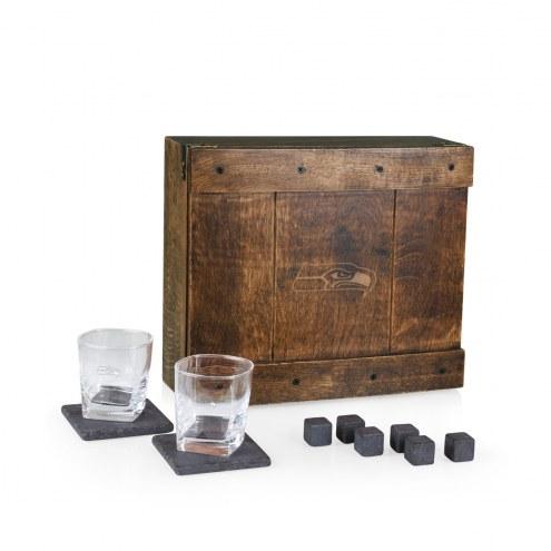 Seattle Seahawks Oak Whiskey Box Gift Set