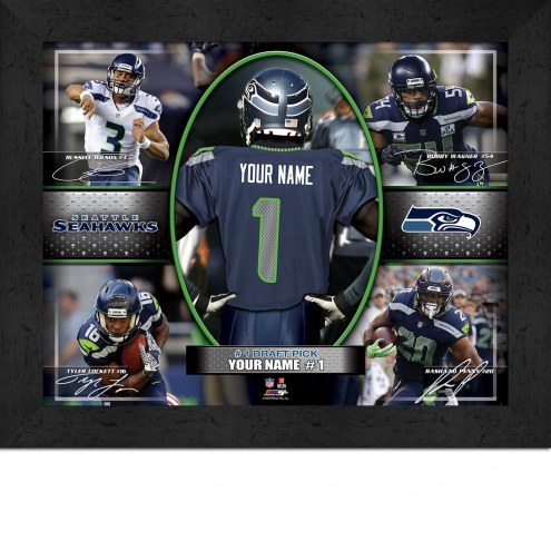 Seattle Seahawks Personalized 11 x 14 Framed Action Collage