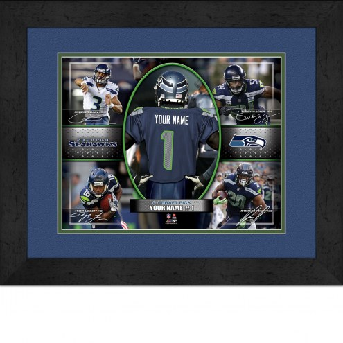 Seattle Seahawks Personalized 13 x 16 Framed Action Collage