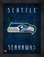 Seattle Seahawks Retro Logo Map Framed Print