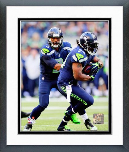 Seattle Seahawks Russell Wilson & Marshawn Lynch Action Framed Photo