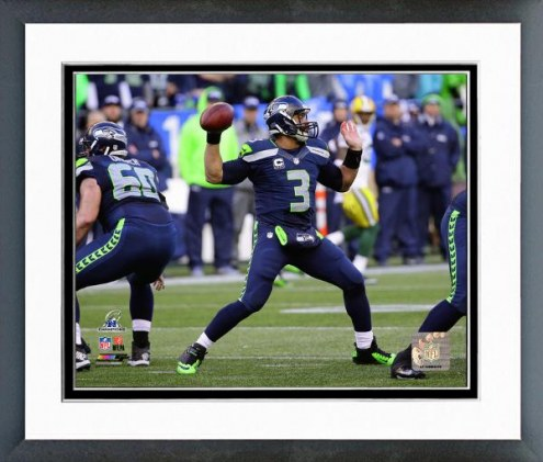 Seattle Seahawks Russell Wilson NFC Championship Game Action Framed Photo