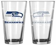 Seattle Seahawks Satin Etch Pint Glass - Set of 2