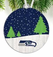 Seattle Seahawks Snow Scene Ornament