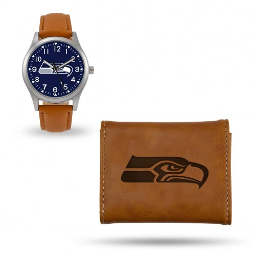 Seattle Seahawks Sparo Brown Watch & Wallet Gift Set