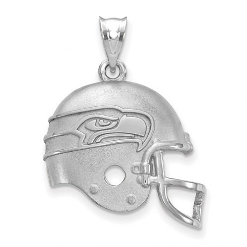 Seattle Seahawks Sterling Silver Football Helmet Logo Pendant
