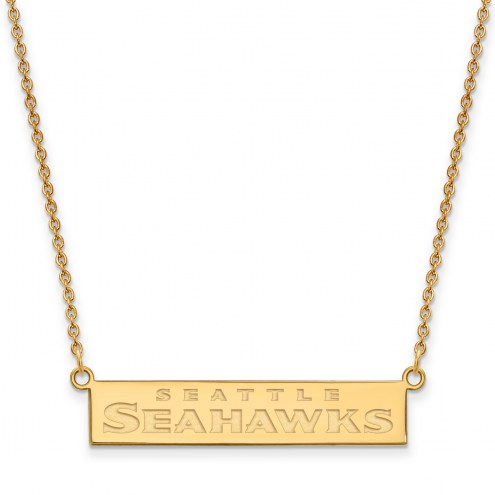 Seattle Seahawks Sterling Silver Gold Plated Bar Necklace