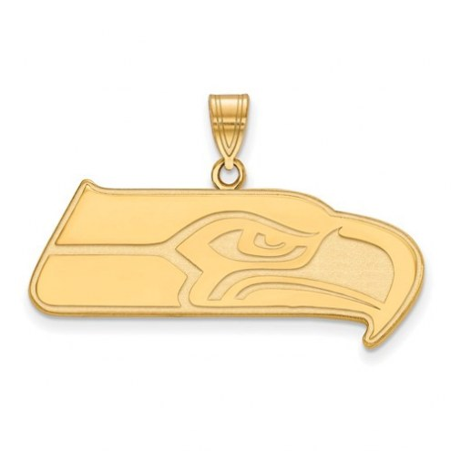 Seattle Seahawks Sterling Silver Gold Plated Extra Large Pendant