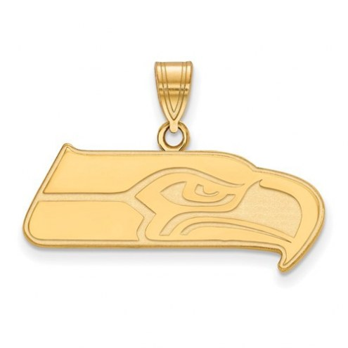 Seattle Seahawks Sterling Silver Gold Plated Large Pendant