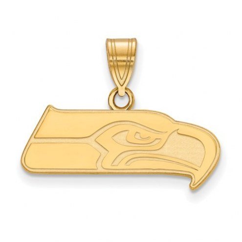 Seattle Seahawks Sterling Silver Gold Plated Medium Pendant